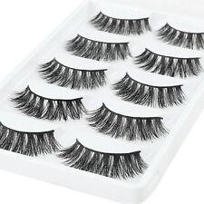 5 Pairs Natural 100% Mink Pro Makeup Thick Eyelashes False Eye Lashes Extension
