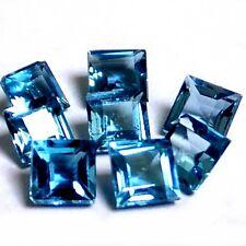 NATURAL LONDON BLUE TOPAZ  GEMSTONE LOOSE PRINCESS CUT 4pcs - 3 x 3 mm