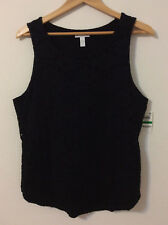 Charter Club Womens Intrepid Deep Black Lace Tank Top Pullover,Size:L  $49.50
