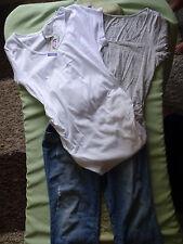 Womens Maternity Clothes Pants & 2 shirts Blue & White Size Large XLarge__M2_CB1