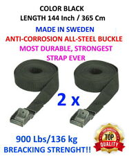 2 Tie Down Straps, Black Colour, 882lbs 144Inch - Cargo Bike Motorcycle Canoe
