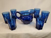 Imperial Glass Ohio OLD WILLIAMSBURG Cobalt Blue 32oz. Pitcher 6 - 12oz. GLASSES