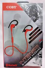 COBY INTENSE BLUETOOTH WIRELESS EARBUDS RED / BLACK PLAY TIME 4 HOURS FREE SHIP