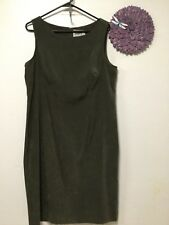 Ladies dress size 16 olive green sleeveless zips in back HBS Collection 143