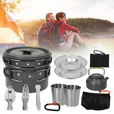12x Camping Kochgeschirr Picknick Aluminium 2-3Person Kochset Campingbesteck