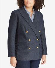 Ralph Lauren women's denim twill blazer with gold crest buttons size 16W rt $205