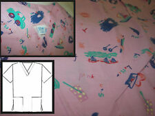 scrub top  Elsie Miami Small drawlings on pink cars,boats,carts 2 pocket
