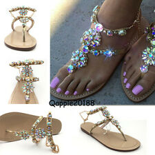 2018 LADY RHINESTONES Strap Flip Flops Strap Flat Beach Sandals Shoes PLUS SIZE