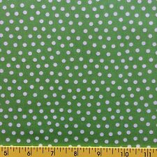 LAGON DRAGON Cotton Fabric for sewing and quilting WHITE POLKA DOTS ON GREEN
