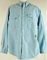 Vintage Tommy Hilfiger Mens Shirt Long Sleeves Crest Logo Blue Chambray Sz Large
