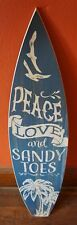 PEACE LOVE Surfboard Sign 3FT Coastal Blue Wood Plank Rustic Beach Surfer Decor