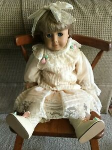 Doll Clothes for Franklin Heirloom Victorian Cream Dress, Shoes Hair Bow for 18""