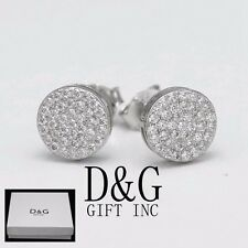 Brilliant Cz 8mm Round*Earring Studs*Unisex.,Box Dg Men's Sterling Silver 925