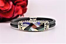 Asch Grossbard Rubber Bracelet Inlaid Shell of Spiney Oyster Sterling & 18K YG
