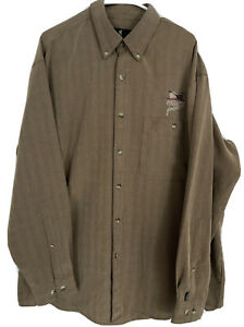 Browning Pheasants Forever Hunting Shirt Button Down Men's XL RAYON Brown Pocket