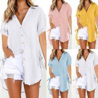 Women's Loose Button Long Shirt Dress Cotton Ladies Casual Tops T-Shirt Blouse