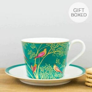 New Portmeirion Sara Miller Chelsea Green Gold Coffee Cup & Saucer Set Gift Box
