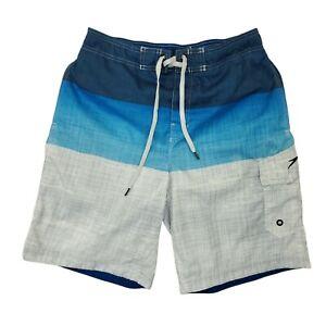 Speedo Swim Trunks Shorts Men's Sz M Stretch Waist Front Tie Mesh Lined Blue
