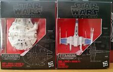 Star Wars Titanium Series Black Series 01 & 02 Millennium Falcon and X-Wing