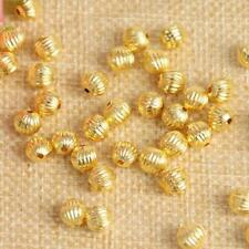300PCS Gold Plated Acrylic Pumpkin Spacer Beads Crafts DIY Beading Jewelry 6MM
