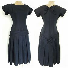 Vintage 50s Cocktail Party Dress Size Medium Pleated Bow Formal Evening