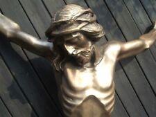 Großer Bronze Christus-Korpus, Feldkreuz, Grabkreuz, Wegkreuz, Herrgott 1,20 m