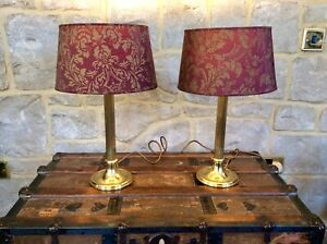 Pair Vintage Large Heavy Solid Brass Column Bedside Table Lamp,41cm Tall,Ornate