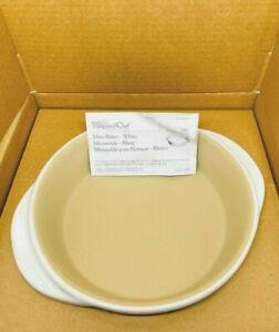 """Pampered Chef Mini Baker white stoneware 8"""" round NO scraper tool 1 qt #1351 NIB"""