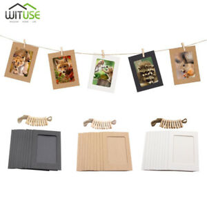 DIY Wall Photo Display Hanging Kraft Paper Picture Frames Clips Kit 3/5/6inch E