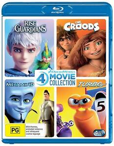 RISE OF THE GUARDIANS + THE CROODS + MEGAMIND + TURBO (Region Free) Blu-ray