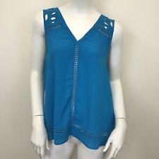 River Island Ladies Bright Blue Crochet Detail Sleeveless Blouse Top UK Size 12