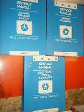 1988 DODGE DAYTONA DYNASTY SHADOW CHRYSLER LE BARON GTS FACTORY SERVICE MANUALS