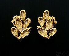 USA/ CORO sign. zeilos elegante Blätter Ohrclips Ohrringe, Earrings, Orecchini