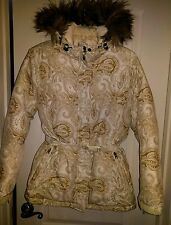 Lands End Down Ski Jacket off White gold paisly winter Coat Parka Size Small 6-8