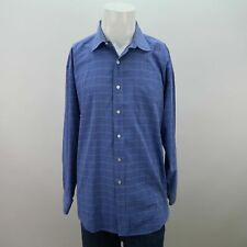 Gant Blue Wrinkle Less Chest Pocket Cotton Plaid Career Dress Shirt Mens 17