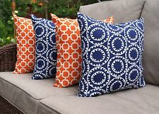Ring a Bell Navy and Hockley Mandarin Orange Outdoor Throw Pillows - Set of 4