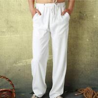 Mens Beach Pants Loose Trousers Sweatpants Cotton Linen Blend Long Trouser New