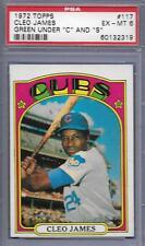1972 TOPPS #117 CLEO JAMES CUBS GREEN LETTER CS ERROR VARIATION CARD PSA 6 EX-MT