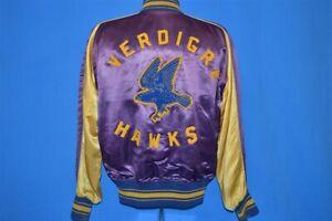 vintage 50s VERDIGRE HAWKS FOOTBALL SATIN REVERSIBLE BLUE GOLD SNAP UP JACKET L