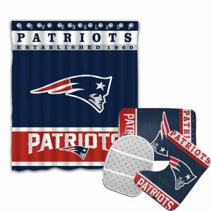 New England Patriots Bathroom Rugs 4PCS Shower Curtain Bath Mat Toilet Lid Cover