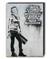 BANKSY ACHIEVE GREATNESS MASKED GIRL Canvas Wall Art Print. Various Sizes