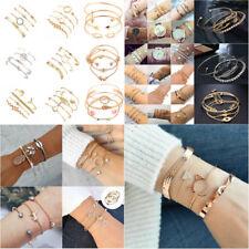 Fashion Women Jewelry Set Rhinestone Beaded Chain Alloy Bracelets Accessories