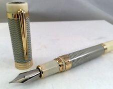 Montegrappa Tibaldi New York Fountain Pen Ivory Grey Yellow Gold Trim TP029, M