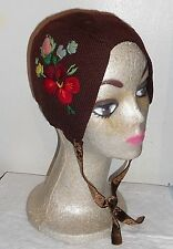 VICTORIAN? FLAPPER'S  KNITTED & EMBROIDERED CAP/HAT W/VELVET TIE BEAUTIFUL!