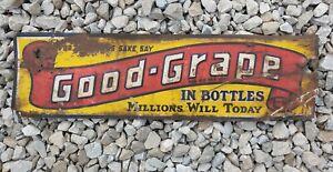 Vtg 1920s -1930s Embossed Metal Tin Sign Advertising Good Grape Soda Drink