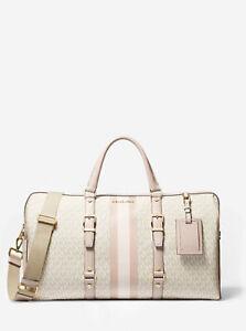 Michael Kors Bedford Travel Large Weekender Duffle Bag Vanilla/Soft Pink NEW