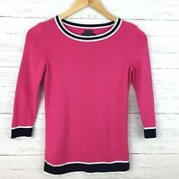 Tommy Hilfiger Women's Pink and Blue Cotton Sweater Lightweight Pullover XS
