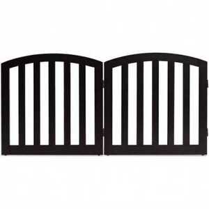 """24"""" 2 Panel Configurable Folding Free Standing Wooden Pet Safety Fence with Arch"""