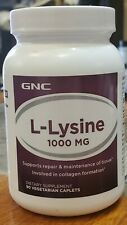 GNC L-Lysine 1000 mg - 90 Vegetarian Caplets - Sealed