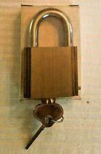 Vintage ILCO Padlock #384LR Brass NOS In Box O-Bitted W/2 1004 Keys - Rekeyable